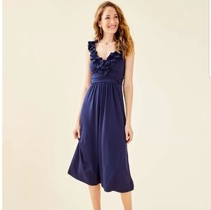 Lily pulitzer ruffles midi dress navy Xs